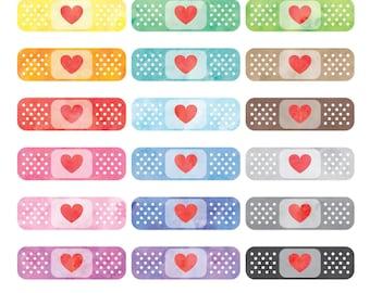Watercolor Bandaids Clipart, Bandage Clipart, Plaster Clipart, Band Aid Clipart