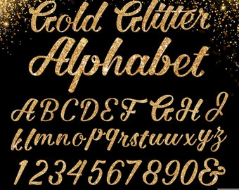 Gold Glitter Alphabet Digital Clipart