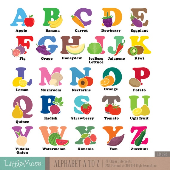 Alphabet A Z Digital Clipart Vegetable And Fruit Aphabet Etsy