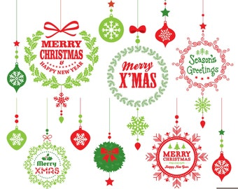 Christmas Digital Clipart, Christmas Typographic, Christmas Decoration