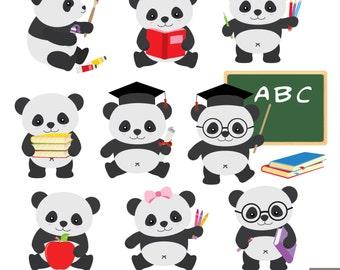 School Panda Clipart, Back to School Clipart