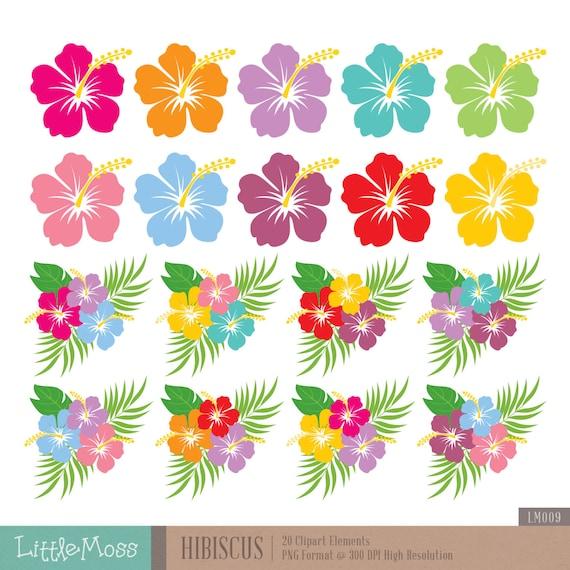 Hibiscus Digital Clipart Clipart Fleur Hawaienne Etsy