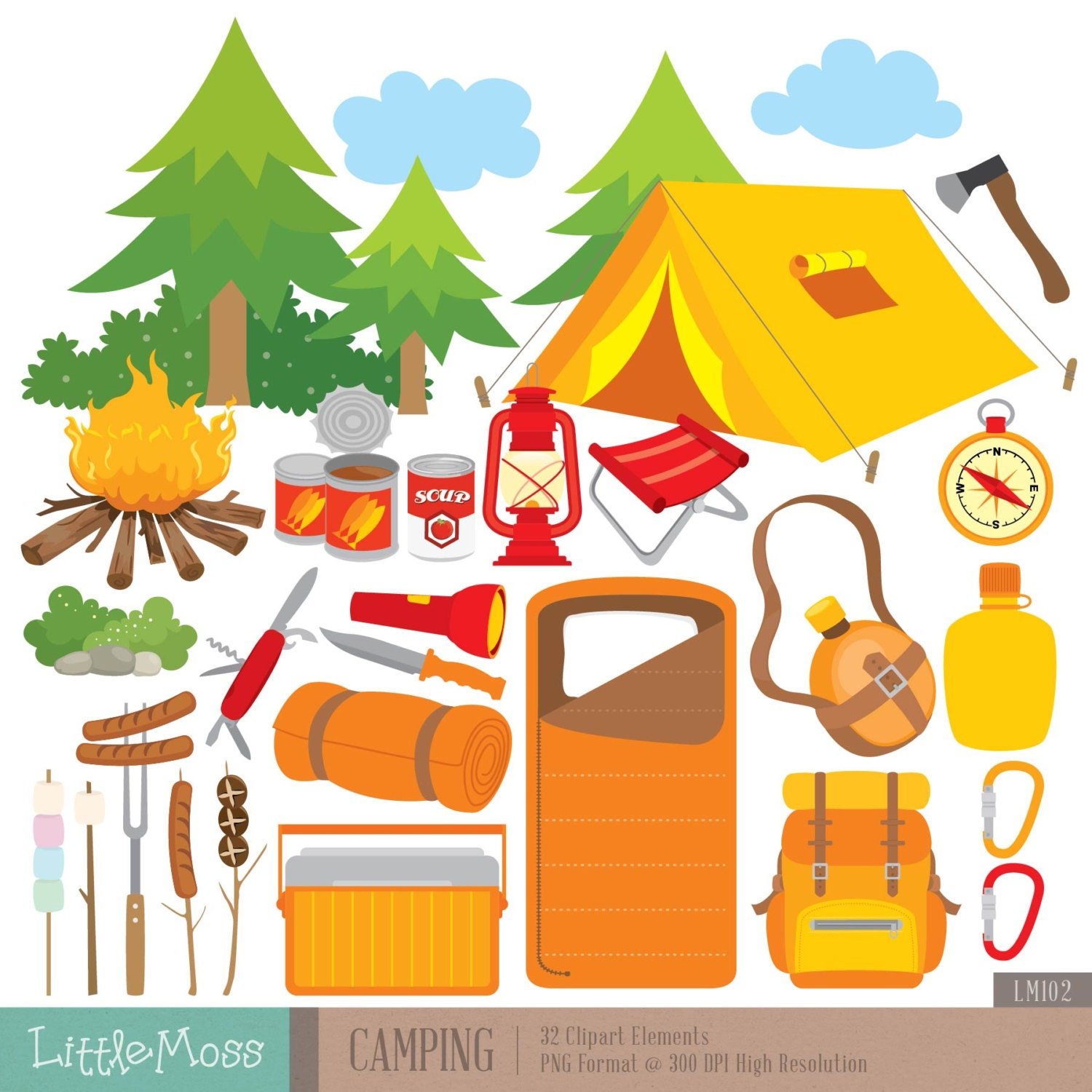 Camping Digital Clipart Outdoor Clipart Campfire Clipart ...