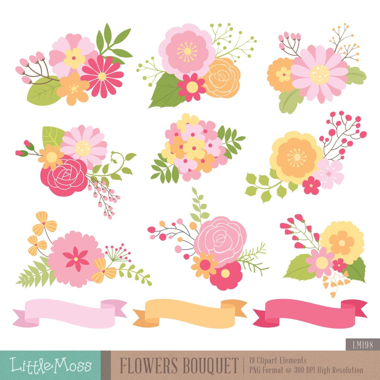 Flowers Bouquet Clipart Floral Bouquet Clipart Etsy