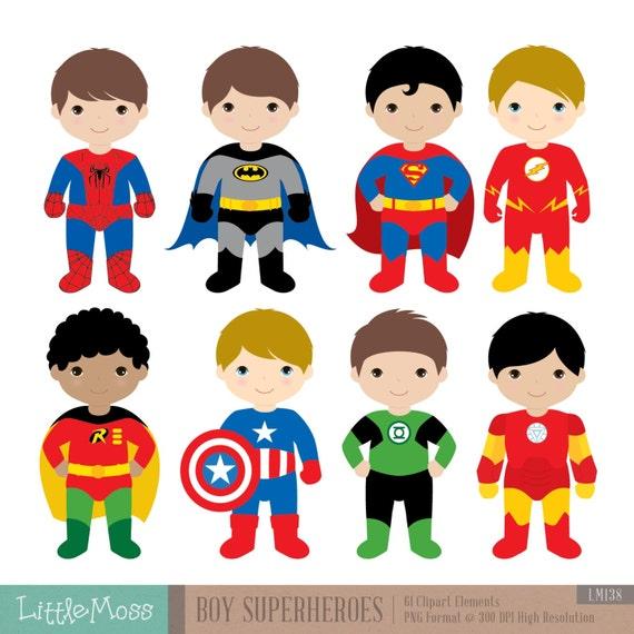 Boys Superhero Costumes Clipart 1, Boy Superheroes, Superheroes Clipart
