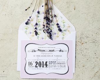 Candy Stripe Vintage Wedding Invite and RSVP