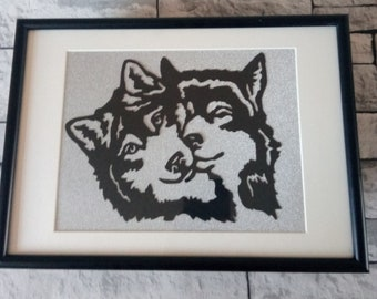 Black & White-Silver A4 Framed Paper Cut-Silhouette Husky-Wolf-Pictured Framed Gift Wall Hanging
