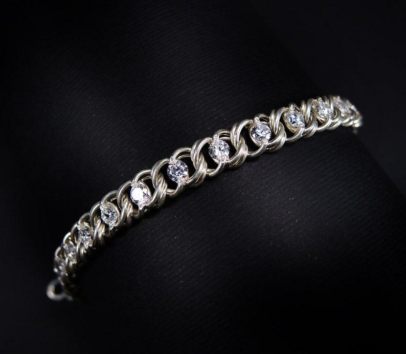 HIGH END 925 Sterling Silver Super White Cubic Zirconia Link Bracelet