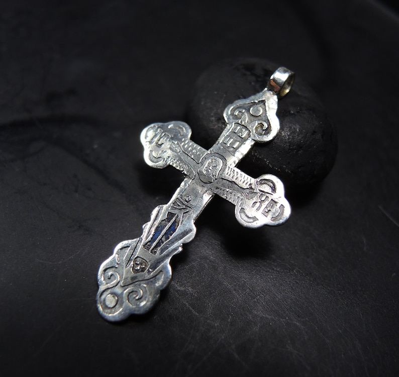 CROSS RING STERLING SILVER  hallmarked stacking I LOVE JESUS CRUCIFIX