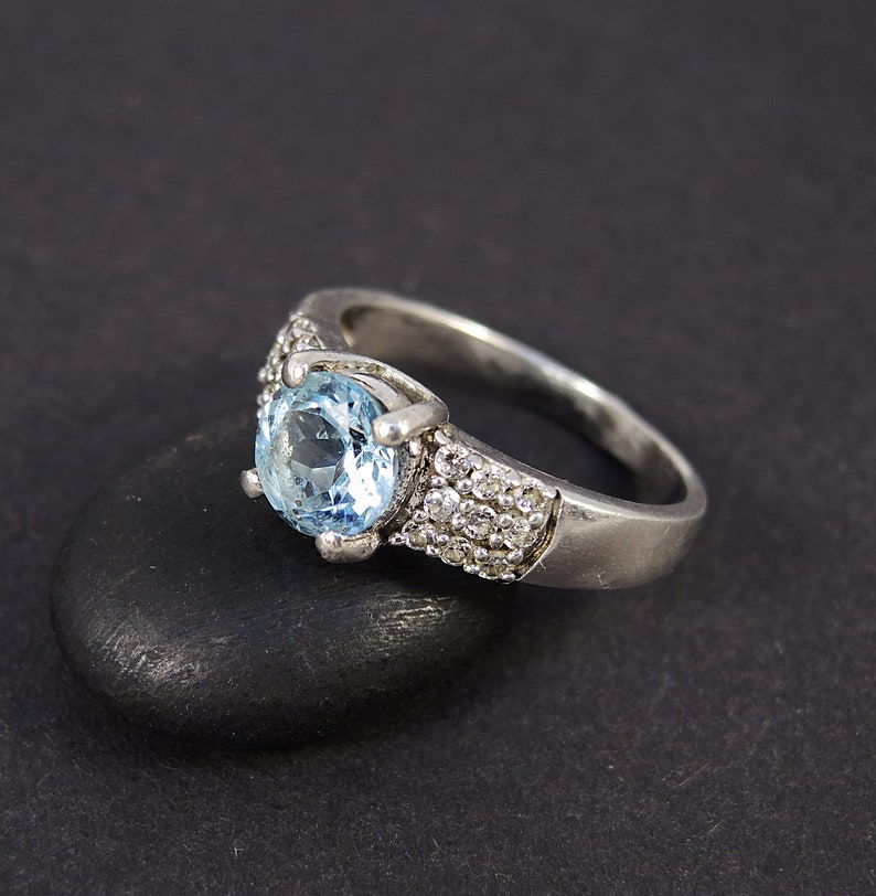Birthstone Ring Ring with stones Cubic Zirconia Ring Multi-stone silver ring Size 7.5 Blue stone Sterling silver ring