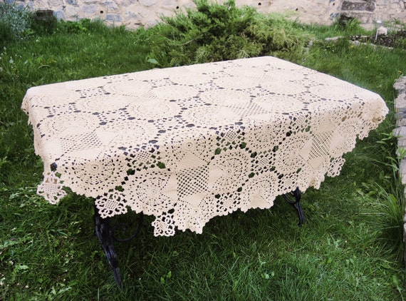 Creamer Knitted Tablecloth Round Crochet Tablecloth White Etsy