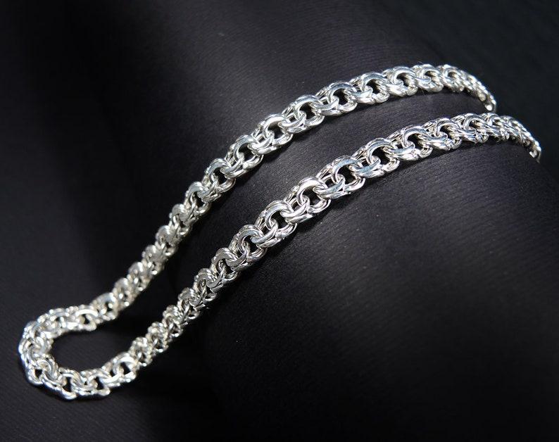 Byzantine sterling silver chain Bismark chain Wide sterling silver chain Heavy men/'s sterling silver chain