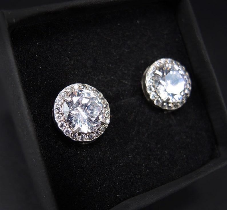 Halo Sterling Silver Earrings Bright bridal earrings 925 silver As diamond earrings Multistone Cubic Zirconia Earrings