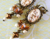 Japanese-style quot Magnolia quot flowery cabochon curls, bronze metal, iridescent brown Bohemian glass, white Howlite stone