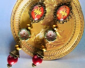 Baroque earrings quot Regency quot cabochon illustrated early XVIII, bronze metal, glass flower, red Bohemia glass
