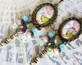 Baroque earrings quot Pompadour quot cabochons illustrated 18th, bronze metal, iridescent green Bohemian glass,Jade pink