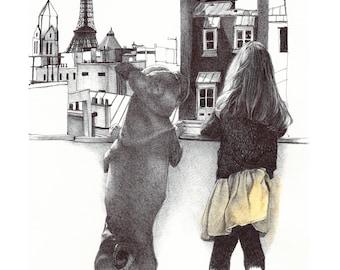 "Illustration ""Sistine and Dexter"" postcard A5 format"