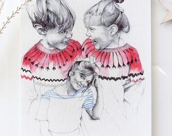 "Illustration ""Twins"" postcard format A5"