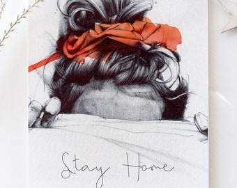 """Illustration """"Stay Home"""" postcard format A5"""