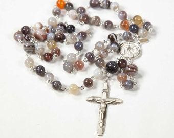 Botswana Agate Rosary for Catholic Women & Men - Handmade Gift, Sterling Silver, Miraculous, Ornate Crucifix - Custom Heirloom Rosaries