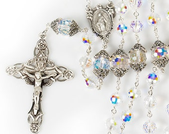 Swarovski Crystal Women's Rosary  - Handmade Gift, Marcasite Silver, Miraculous Center, Ornate Crucifix - Unique, Heirloom Catholic Rosaries