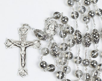 Silver Crystal Womans Rosary - Handmade, Custom Gift for Catholic Women, Swarovski Crystals, Bali Sterling Silver, Crucifix, Unique Rosaries