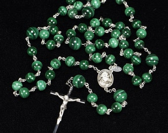 Green Malachite Rosary for Catholic Men - Handmade Rosaries with Malachite Stone Beads, Sacred Heart of Jesus, Crucifix - Gift for Him, Dad