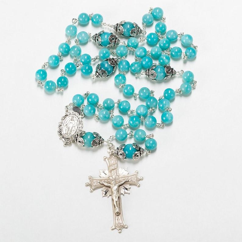 Amazonite Catholic Rosary  Handmade Gift for Women  Bali image 0