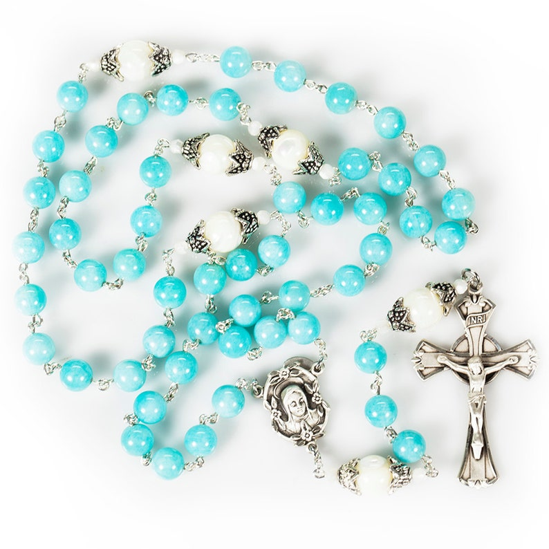 Amazonite Mother of Pearl Women's Rosary  Handmade Gift image 0