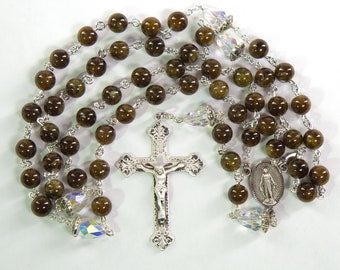 Brown Garnet Catholic Rosary - Handmade with Brown Garnet Stones and Sterling Silver - Custom Gift for Dads