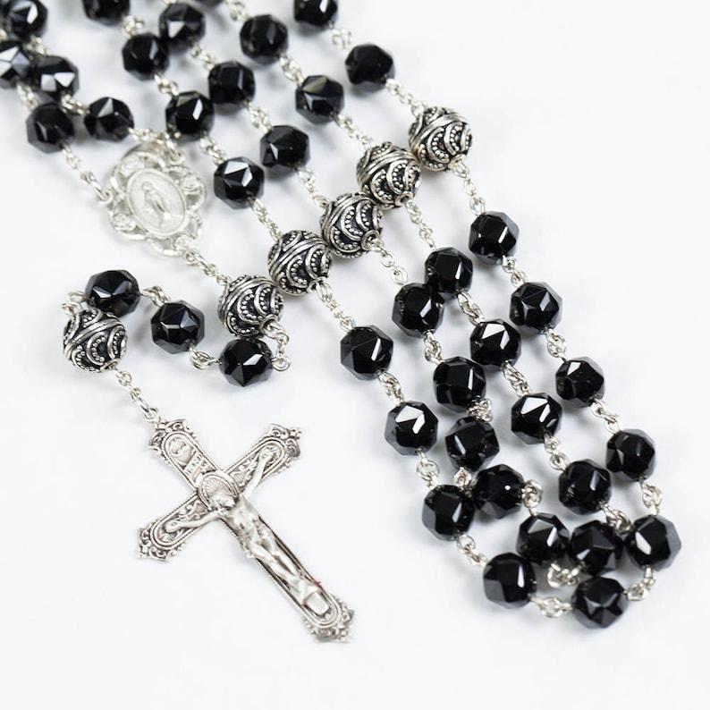 Black Spinel Rosary  Handmade Rosaries Gift for Catholic image 0