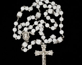 Cracked Crystal Catholic Rosary - Handmade Gift for Women, Madonna Center, Ornate Crucifix, Bali Sterling Silver - Unique, Heirloom Rosaries