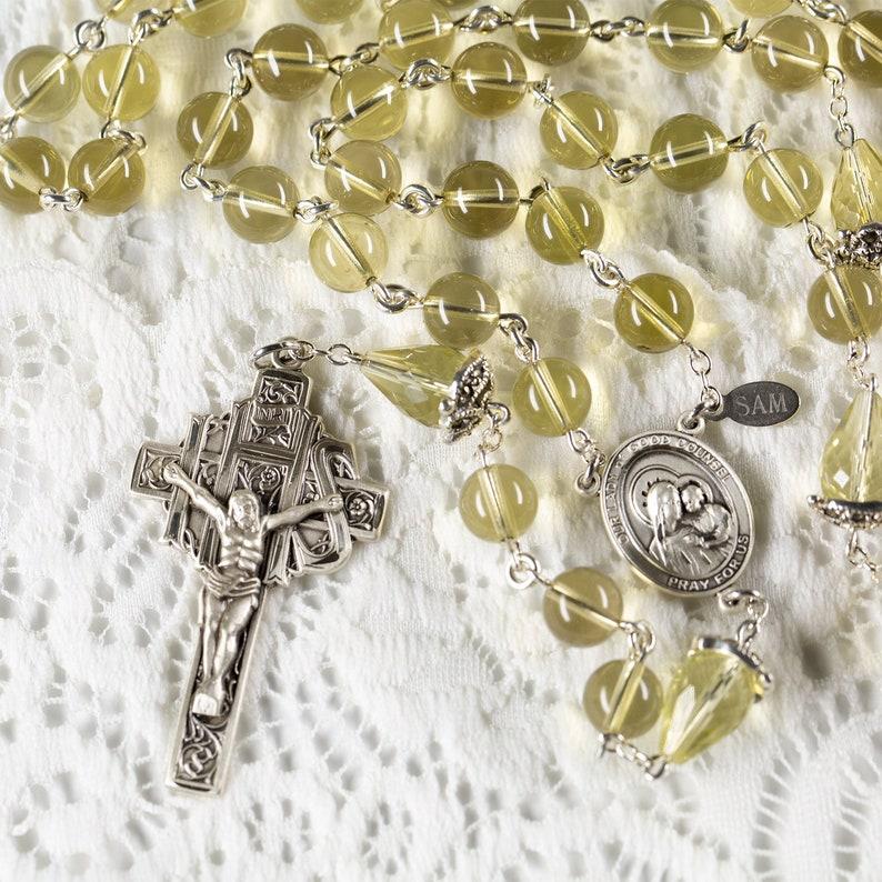 Lemon Quartz Catholic Rosary  Handmade Gift Marcasite image 0