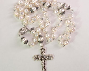 Freshwater Pearl Catholic Rosary - Handmade Gift for Catholic Women with Fresh Water Pearls, Bali Sterling Silver, Miraculous Medal