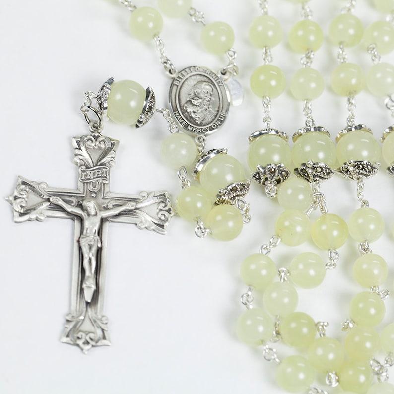 New Jade Catholic Womens Rosary Handmade with Pale Yellow image 0