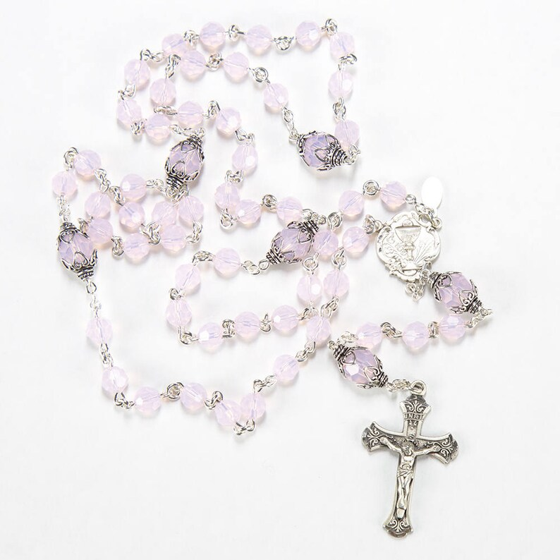 First Communion Rosary Handmade Gift for Girls  Pink Opal image 0