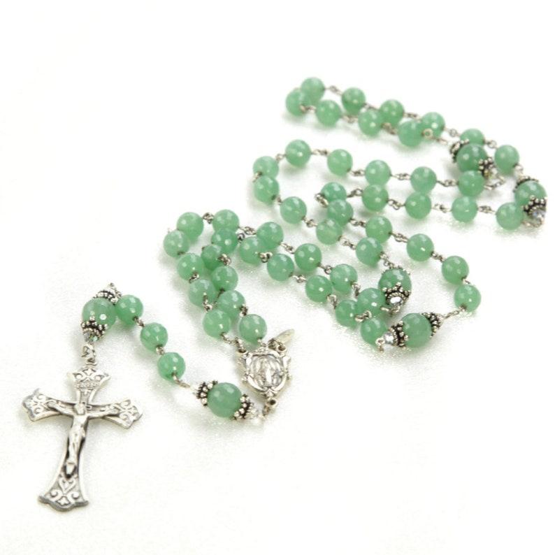 Aventurine Swarovski Crystal Catholic Rosary   Sterling image 0