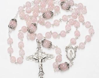 Pink Madagascar Rose Quartz Women's Rosary - Handmade Gift for Her, Ornate Bead Caps, Madonna Center, Crucifix - Heirloom Catholic Rosaries