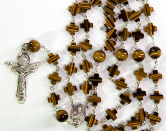 Tiger Eye Crosses Mens Rosary   Catholic, Handmade Heirloom with Sterling Silver, Scapular Center and Trinity Crucifix   Gift for Dad or Mom