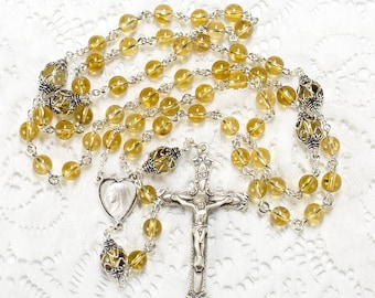 Citrine Quartz Catholic Rosary - Handmade Gift for Mom, Sterling Silver, Blessed Mother, Simple Crucifix - Heirloom, Custom Rosaries