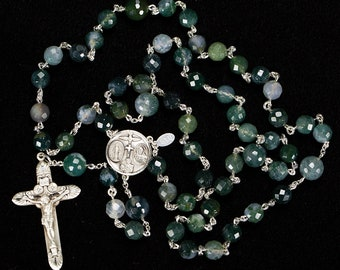 Moss Agate Men's Rosary - Handmade, Heirloom Gift, 5-Decade, Catholic Rosaries with Green Moss Agate Beads, Sterling Silver, 4-Way Center