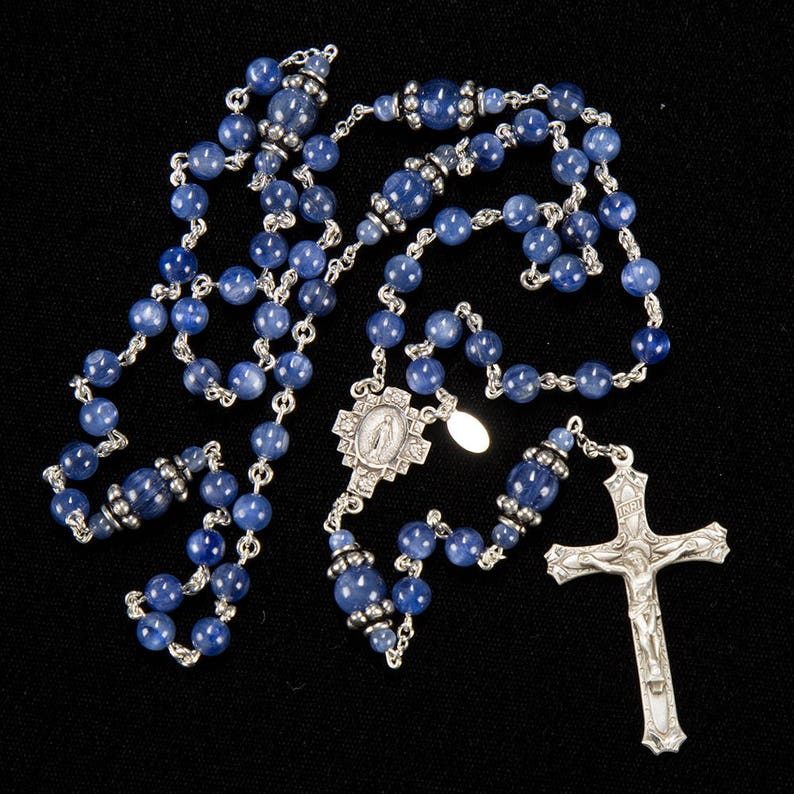 Blue Kyanite Rosary for Catholic Women  Sterling Silver image 1