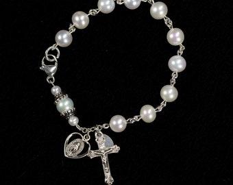 White Freshwater Pearl Bracelet Rosary for Catholic Women & Girls - Unique Handmade Pocket Rosaries, Gift for Mom or Her, Sterling Silver