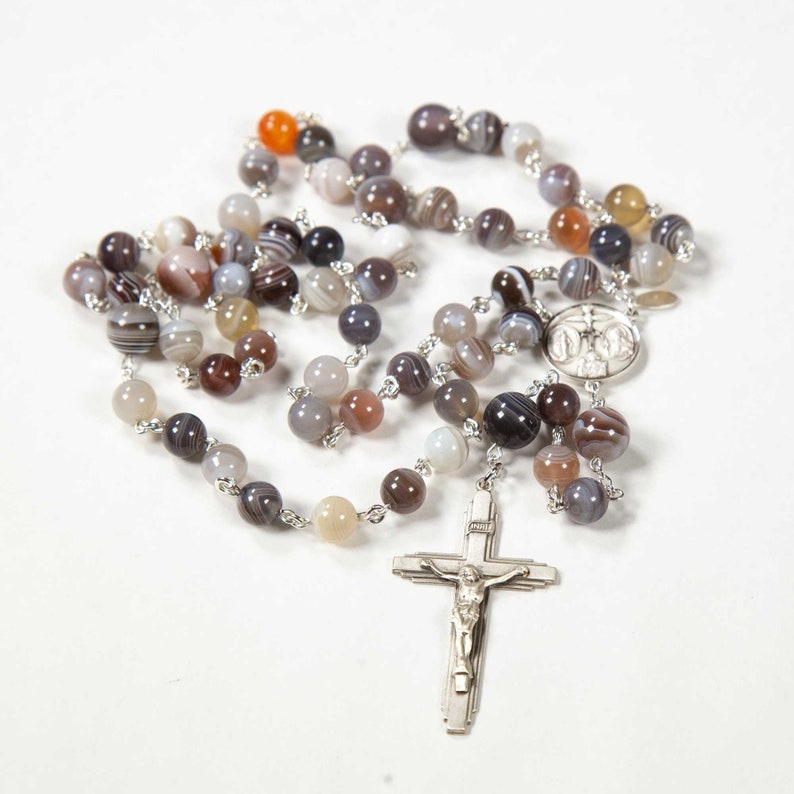 Botswana Agate Rosary for Catholic Women  Handmade Gift image 0