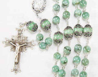 Natural Green Emerald Rosary - Handmade Gift for Catholic Women - Heirloom, Sterling Silver, Miraculous Medal, Crucifix, Custom Rosaries