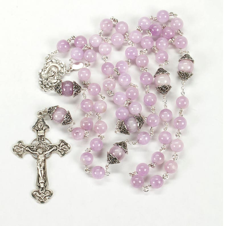 Pink Purple Kunzite Catholic Womens Rosary  Handmade 5 Decade image 0