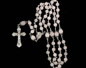 Pink Rose Quartz Rosary - Handmade Gift for Catholic Women with Rose Quartz Beads, Bali Sterling Silver, Miraculous Medal