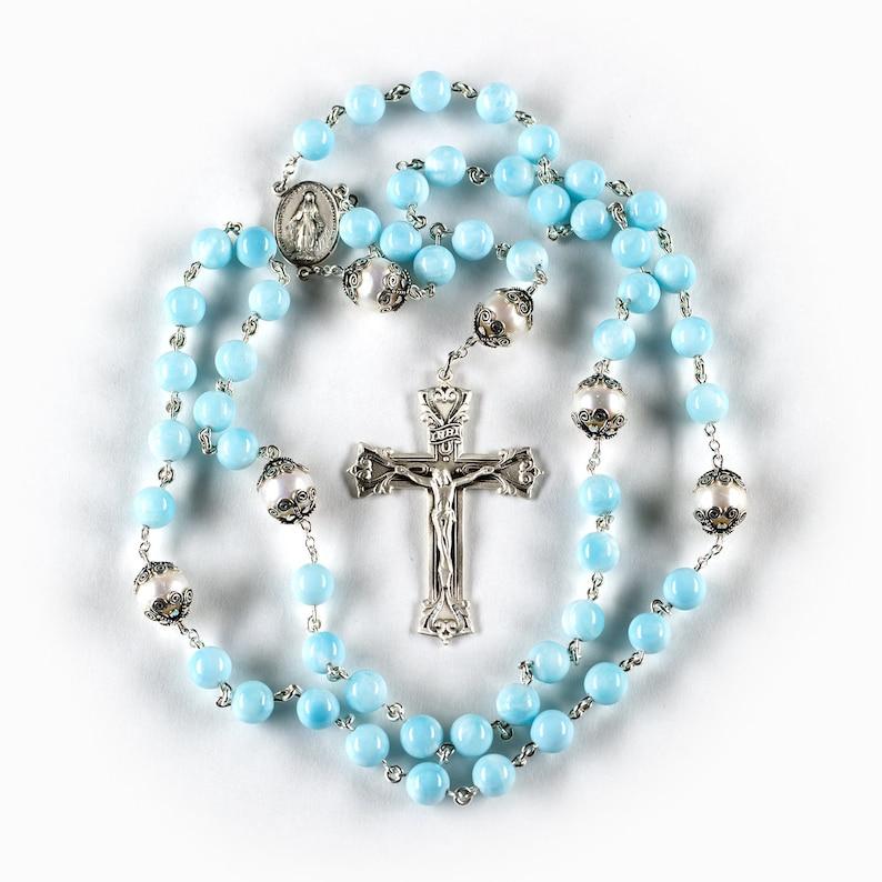 Hemimorphite Freshwater Pearl Catholic Rosary  Handmade Gift image 0
