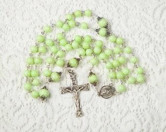 """Lemon Magnesite """"Chrysoprase"""" Catholic Women's Rosary - Gift for Girls - Ornate Crucifix, Sterling Silver - Custom, Heirloom Rosaries"""