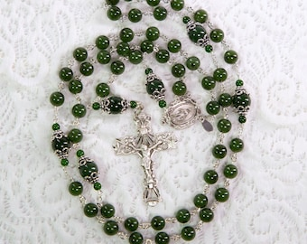 Green Jade Stone Rosary Beads, Catholic Women & Mothers, Sterling Silver, Miraculous Medal, Handmade, Unique, Custom Heirloom Gift for Mom